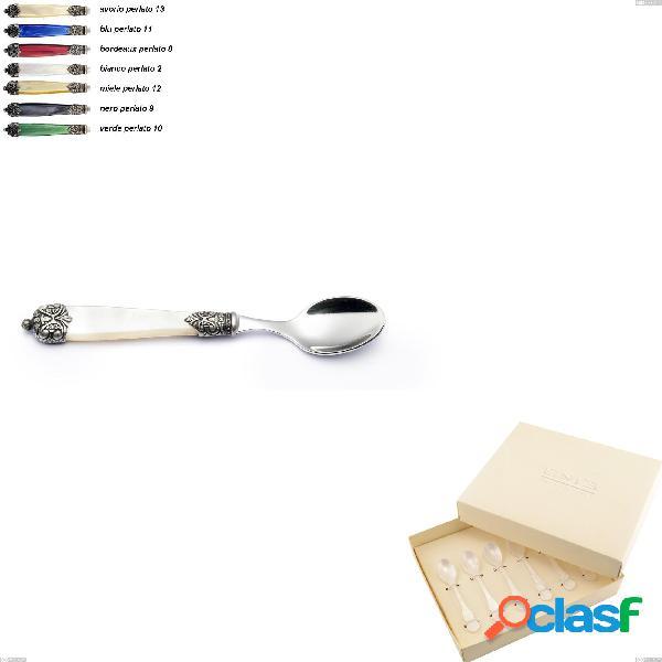 Confezione bomboniera 6 pezzi cucchiaini moka mirage, acciaio inox 18.10 (aisi 304)