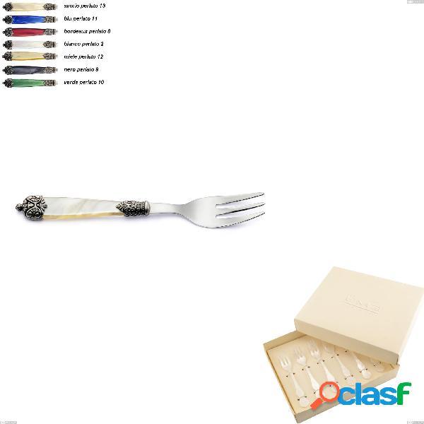 Confezione bomboniera 6 pezzi forchettine da dolce mirage, acciaio inox 18.10 (aisi 304)