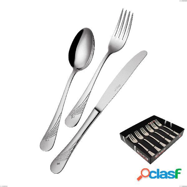Confezione vetrina 6 pezzi forchettine dolce milano inciso, 18/10 (aisi304) acciaio inox lucido, spessore 2,5 mm