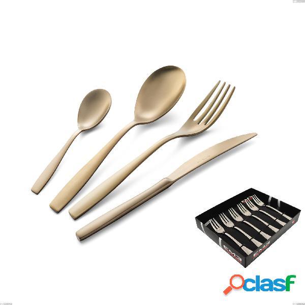 Confezione vetrina 6 pezzi forchettine dolce eleven sahara 2,5 mm brunita sabbiata, acciaio inox 18/10 (aisi 304), spessore 2,5 mm