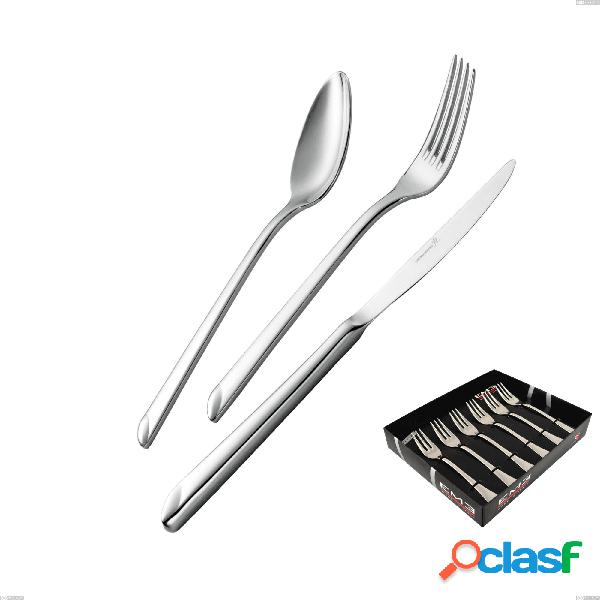 Confezione vetrina 6 pezzi forchettine dolce goccia, acciaio 18/10 (aisi 304), spessore 4 mm