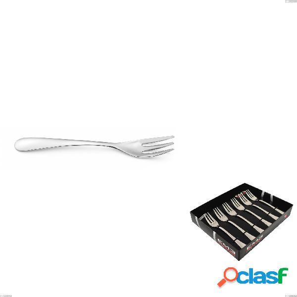 Confezione vetrina 6 pezzi forchettine dolce hotel, acciaio inox 18.10 (aisi304), spessore 2.5 mm