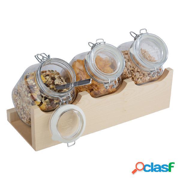 Espositore cereali cm 43x17x13,5 acero 4 pz, supporto, 3 contenitori vetro, peso 5,48 kg