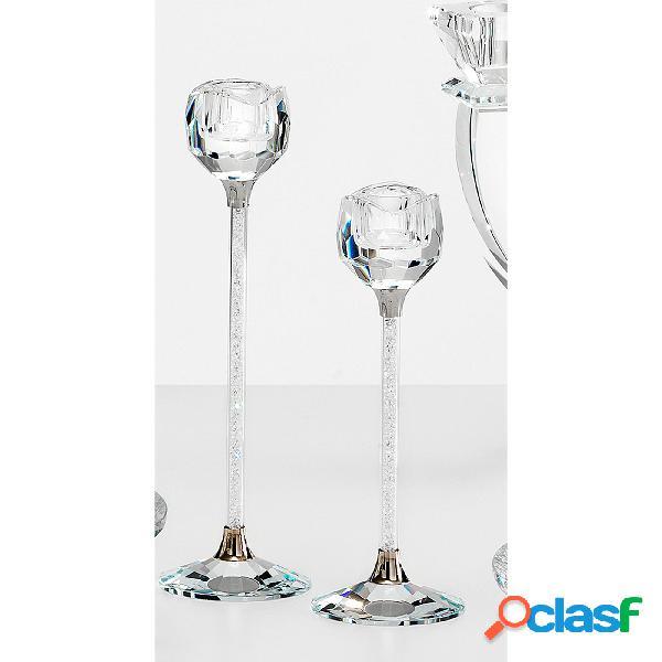 Porta candele cristallo cm h 21,5 uno stelo k9 idea per bomboniera