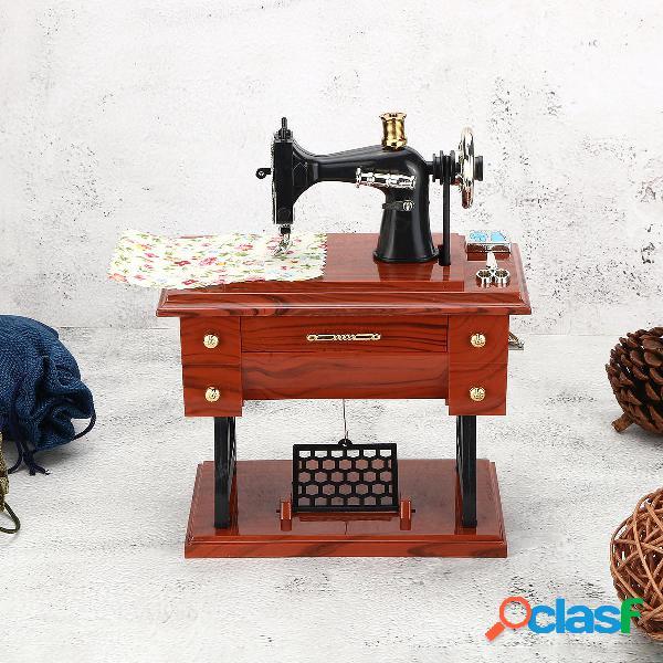 Orologio da tavolo vintage retrò a forma di macchina da cucire a forma di musica scatola tavolo decorazioni per la casa