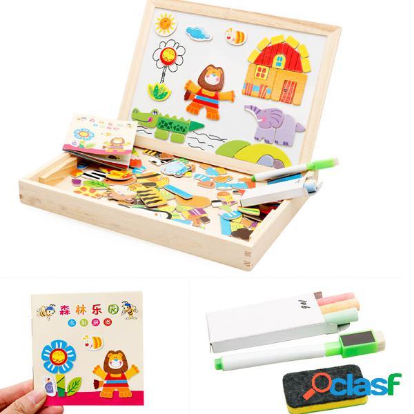 Tavolo da disegno magnetico fai-da-te in legno forest paradise per bambini giocattoli didattici precoci