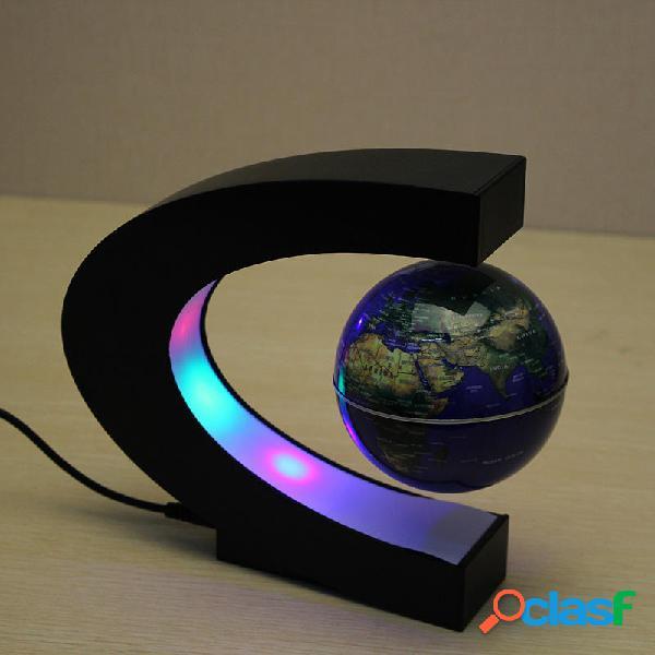 C forma levitazione magnetica galleggiante globo mappa del mondo con led luci
