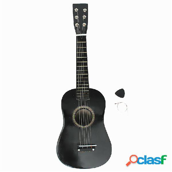 Chitarra acustica in legno per principianti a 6 corde nera da 23 con pick + wire