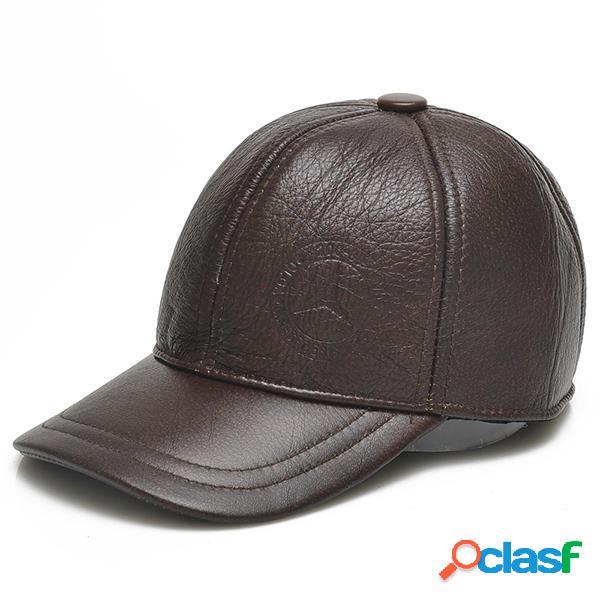Cappello con pelle di vacchetta con paraorecchie a stile di baseball per inverno mantiene caldo anti-vento da uomo