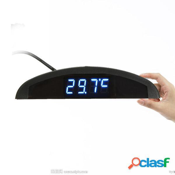 Voltmetro automatico digitale a led per orologio termometro 12v 3 in 1 funzione