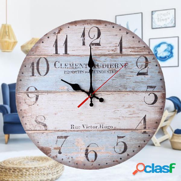 12 orologio da parete in legno tondo retrò da parete decorazioni per ufficio da casa orologi da tavolo da fat