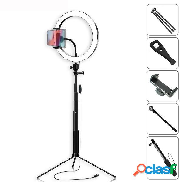 Selfie yingnuost bastone 5500k luce video dimmerabile 26cm led anello lampada con supporto per telefono bluetooth ottura