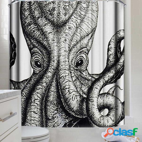 Tende da doccia lavabili impermeabili in polpo nero e bianco 3d tende da bagno lavabili impermeabili con 12 ganci
