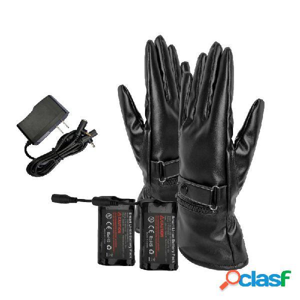 2500mah inverno riscaldato elettrico guanti batteria potenza riscaldamento guanto touch screen caldo termico guanti per