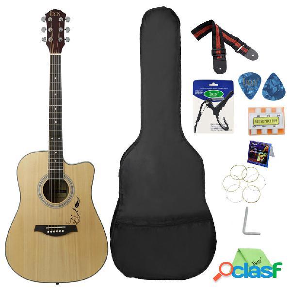 Irin 41 pollici corno dangolo chitarra acustica per principianti con chitarra borsa / pick / cinghia / pipa / strap