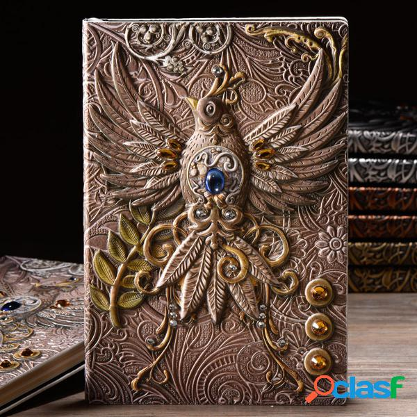 Diario di viaggio in pelle goffrata a5 quaderno diario antico phoenix in rilievo fatto a mano vintage