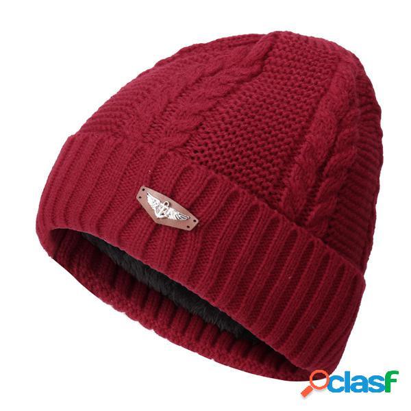 Cappello da uomo donna unisex aggiunto cashmere lavorato in maglia caldo protezione di orecchie cappello beanie monocrom