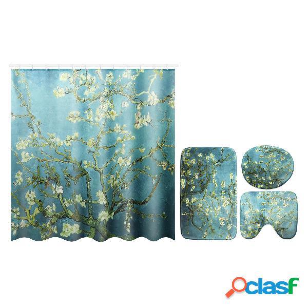 Tende da doccia impermeabili a fiori tende da bagno in tessuto poliestere impermeabile per 12 ganci