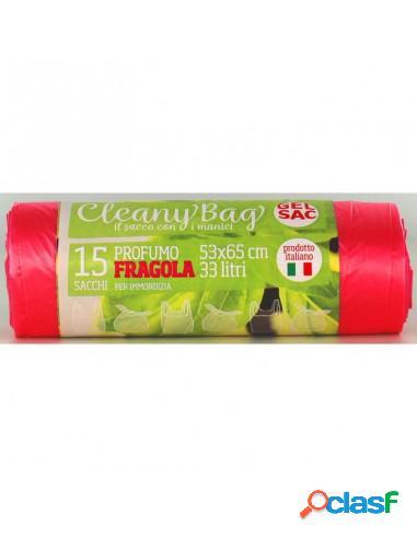 Gel sac rotolo 15 sacchi shoppers pattumiera con manico 53x65 cm 33 litri rosa trasparente profumo fragola