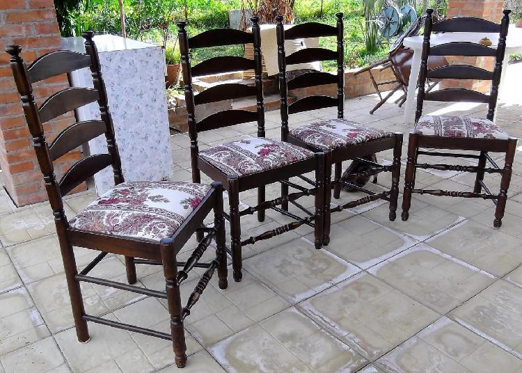 Colore noce scuro imbottita in stoffa 4 sedie legno