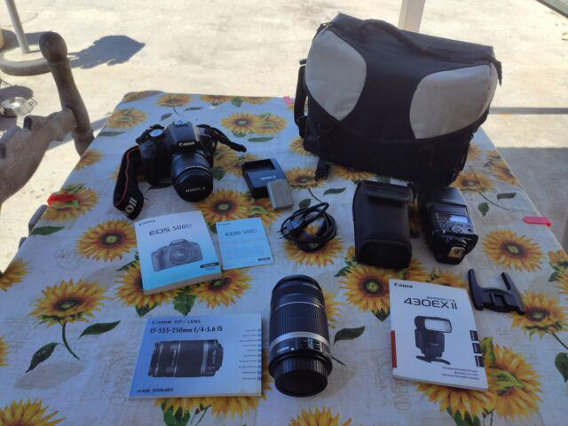 Canon eos 500d + obiettivi + flash aggiuntivo + borsa