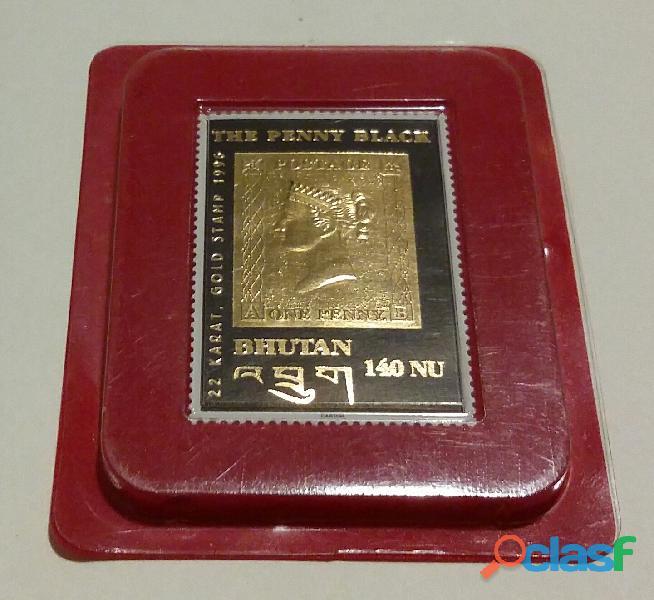 The Penny Black francobollo in Oro 22 Carati Bhutan Anno 1996 nuovo