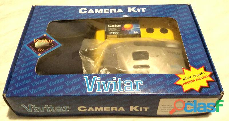Vivitar T200 35 mm flash commutabile panoramico film camera nuovo con scatola