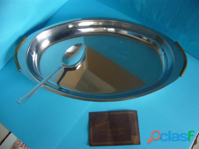 Piatto ovale acciaio inox risottiera cm 40
