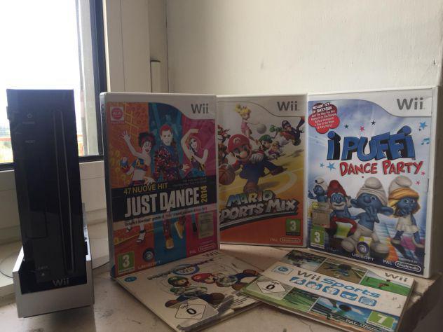 Nintendo wii nera come nuova + 5 giochi inclusi nel prezzo