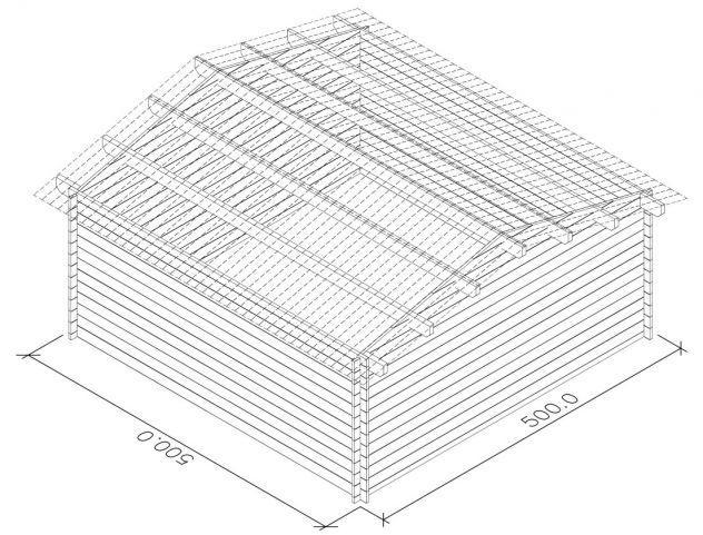 Casetta in legno di abete blockhaus cm 500x500 nuova