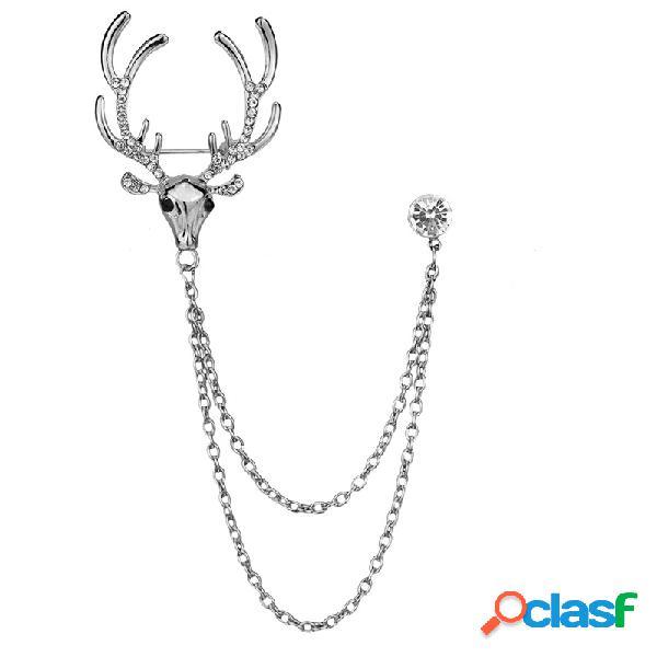Fashion elk pins animali nastro placcato oro strass catena tassles spille pins gioielli carino