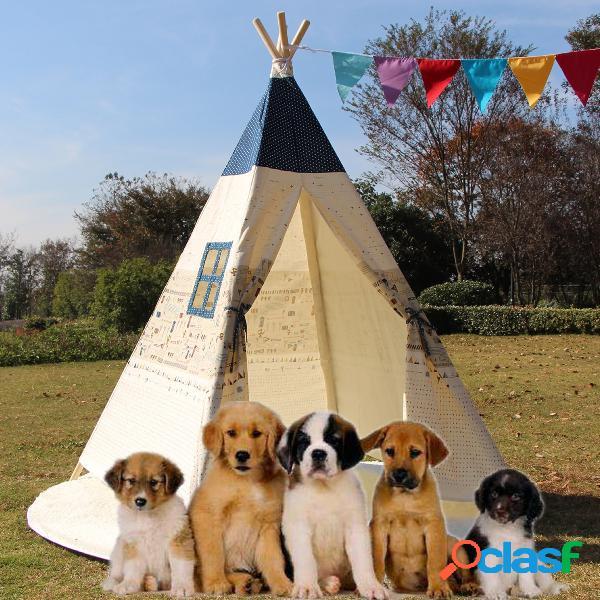 Grande t-shirt per cani teepee per animali da compagnia per bambini tende tipi outdoor beige con tappetino a pavimento ammortizzato