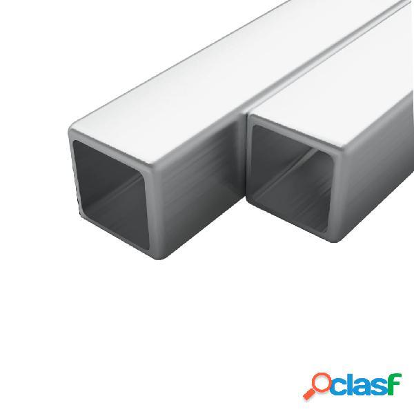 Vidaxl tubi in acciaio inox sezione quadrata 2 pz v2a 1m 15x15x1,5mm