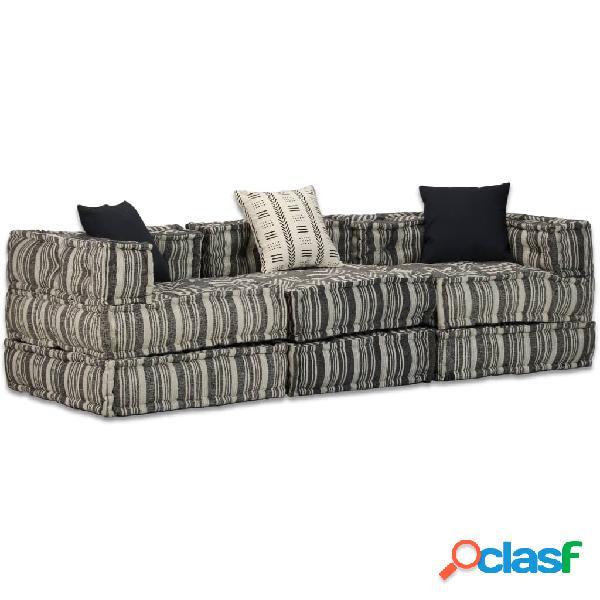 Vidaxl divano letto modulare a 3 posti in tessuto a strisce