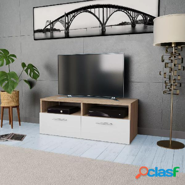 Vidaxl mobile porta tv in truciolato 95x35x36 cm rovere e bianco