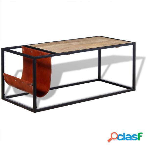 Vidaxl tavolino da caffè in vera pelle con portariviste 110x50x45 cm