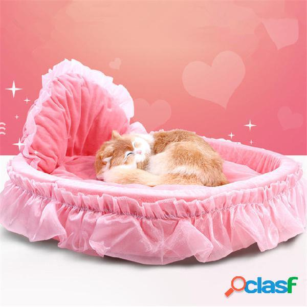 Luxury princess cat letto cucciolo cucciolo viola rosa pizzo cuccia piccola cuccia canile caldo soft letto per animali d