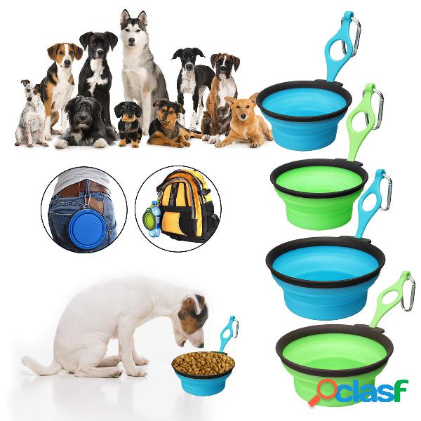 Pet silica gel bowl dog cat pieghevole silicone dow bowl candy color outdoor travel portable puppy contenitore per alime