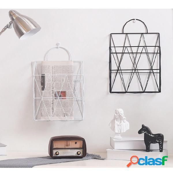 Scaffale per scaffali da parete a parete in metallo moderno, scaffali per libri da giornale, magazzino display, unità or