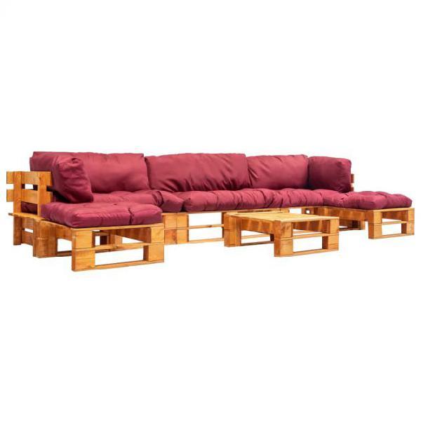Vidaxl set divani da giardino su pallet 6 pz cuscini rossi