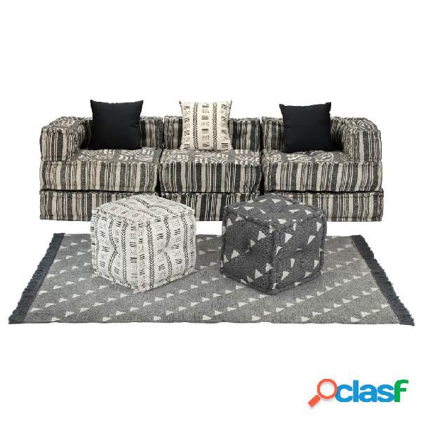 Vidaxl set divano modulare 12 pz in tessuto a righe