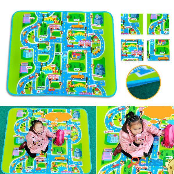 Bambino neonato crawl giocare divertimento auto traffico cittadino gioco tappeto tappeto