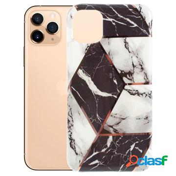Cover in tpu marble per iphone 11 pro - nero / bianco
