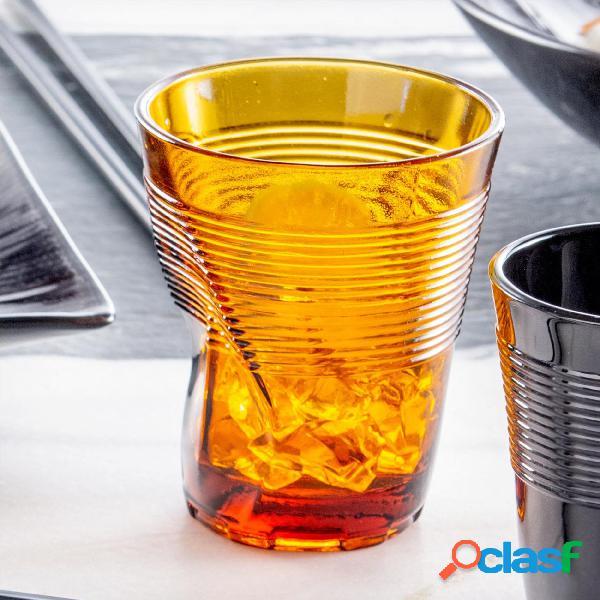 Bicchieri accartocciato acqua 6 pezzi diametro 8xh9 cm - 22 cl in vetro soffiato adatto alla lavastoviglie colore arancio