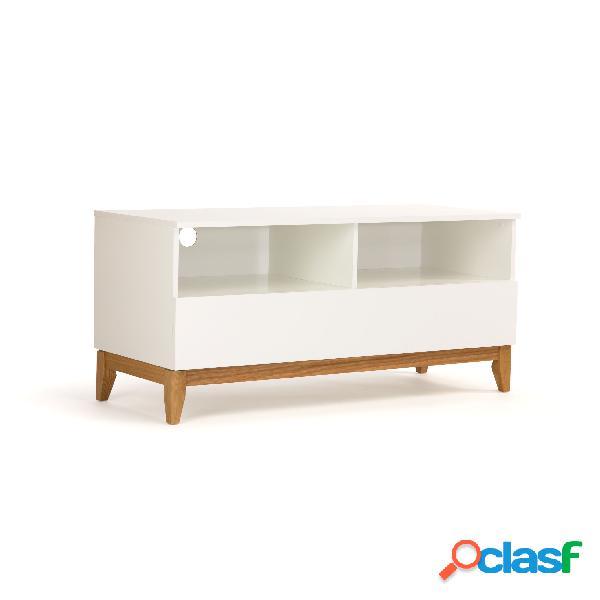 Mobile tv grande blanco in legno ingegnerizzato e massiccio, dimensioni 120 x 48 x h55 cm, peso 33 kg, finitura bianco, rovere