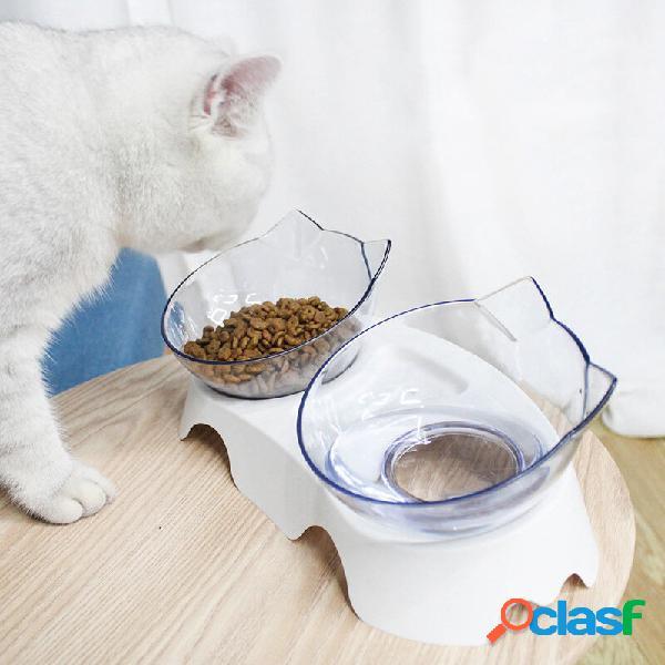 Ciotole per animali domestici sollevate a 15 gradi gatti alimentatore di acqua cibo ciotola elevata inclinata in plastic