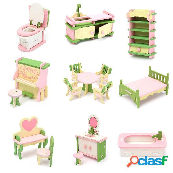 Set di mobili in legno accessori di miniatura per camera di casa di bambola decorazione regalo giocattolo per bambini