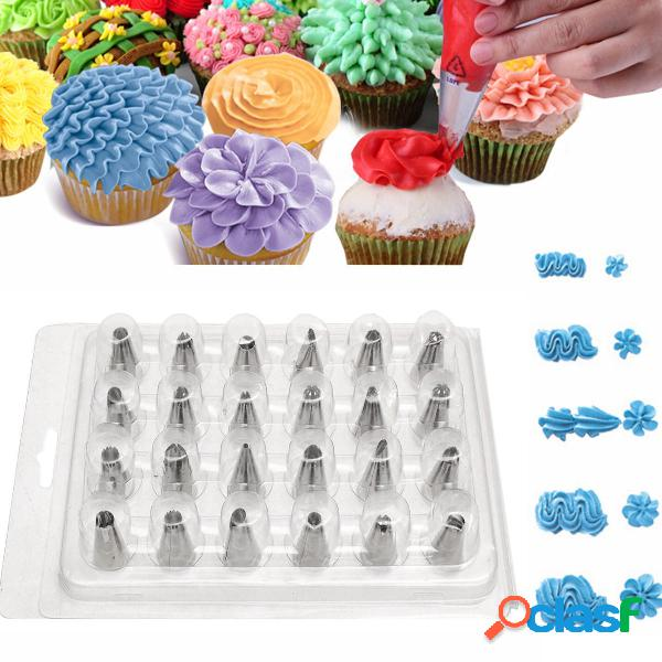 24pcs punte per ugelli per tubazioni di glassa cake sugarcraft pasticceria decor baking strumenti kit