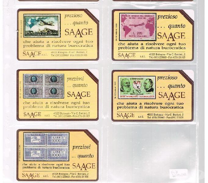 Serie completa 7 schede saage nuove con folder originale