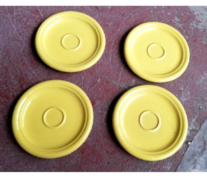 4 piatti frutta in ceramica gialli rometti